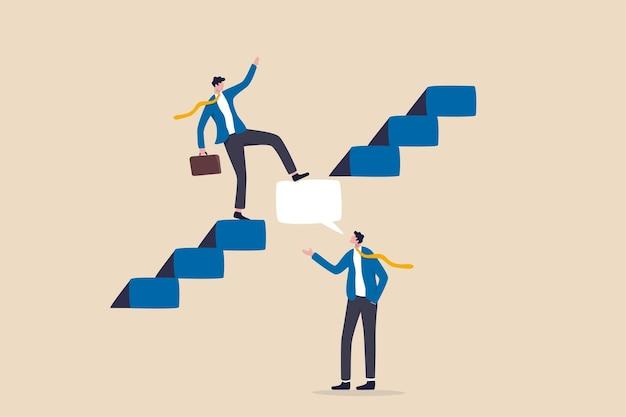 ビジネス上の問題を解決するための専門家のアドバイスやインテリジェンス情報、ソリューションコンセプトを提供する専門のコンサルタントやサポート、吹き出し付きのビジネスマンの専門家が階段を成功につなげるのに役立ちます。