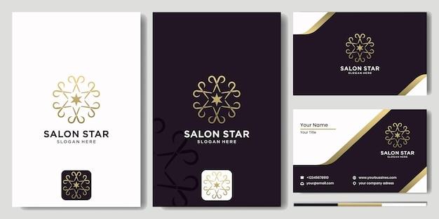 専門家の美容理髪店のロゴ、はさみと花のベクトルイラストデザイン、豪華でモダンなヘアカットサロンロゴテンプレートベクトルデザイン