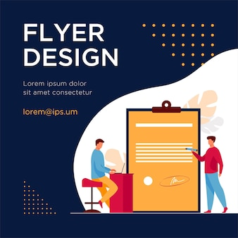 Expert checking business leader order. tiny character with pencil reading document flat flyer template
