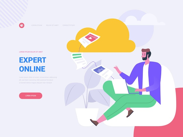 Expert online landing page vector template. e learning website homepage interface idea with flat illustrations. internet consulting, webinar. business coaching web banner cartoon concept
