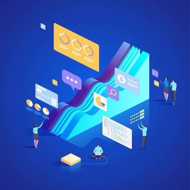 データ分析およびコンサルティングサービスの専門家チーム。ランディングページ、ウェブデザイン、バナー、プレゼンテーションのアイソメトリックイラスト。