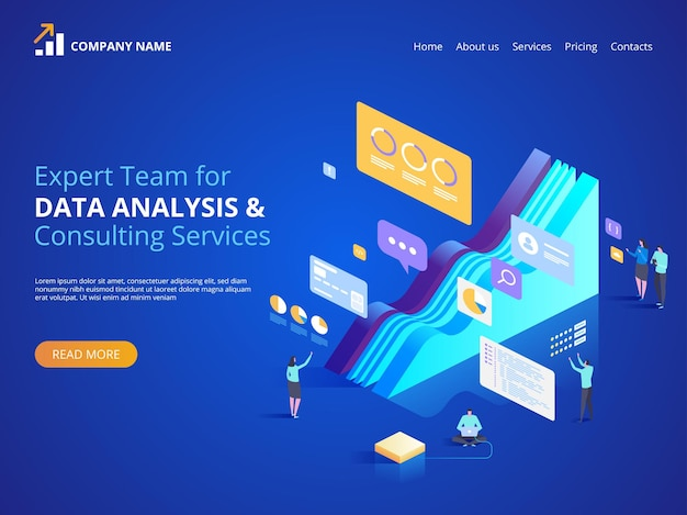 데이터 분석 및 컨설팅 서비스 전문가 팀. 방문 페이지, 웹 디자인, 배너 및 프리젠 테이션을위한 아이소 메트릭 그림.