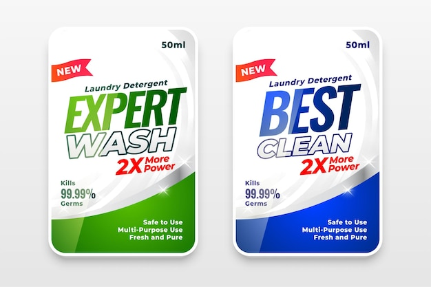 Expert wash detergent labels stickers set