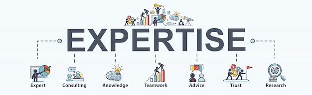 Expertise steps for business, expert, consulting, knowledge, teamwork, advice, trust and research. minimal vector infographic.