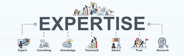 비즈니스, 전문가, 컨설팅, 지식, 팀워크, 조언, 신뢰 및 연구를위한 전문화 단계. 최소한의 벡터 infographic.