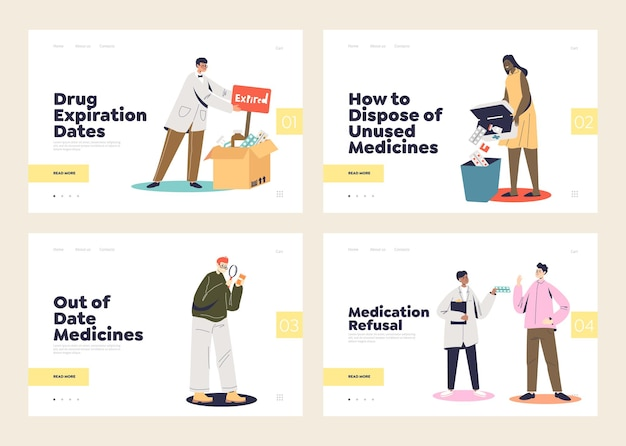 Expired medicines and medical treatment refusal concepts of set of landing pages templates. pills expiration, pharmacy and medicine