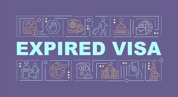 Просроченная виза фиолетовый слово концепции баннер. официальный вывоз из страны. инфографика с линейными значками на фиолетовом фоне. изолированная творческая типография. векторная иллюстрация цвета наброски с текстом