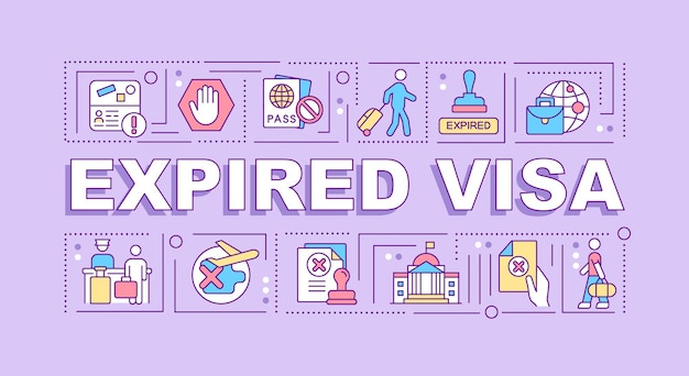 Expired visa word concepts banner. official removal from country. infographics with linear icons on purple background. isolated creative typography. vector outline color illustration with text