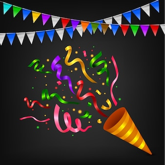 Exploding colorful confetti popper birthday party