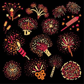 Взрывающиеся петарды и салюты, используемые по праздникам. изолированная сверкающая и взрывающаяся пиротехника для веселых праздников или мероприятий. поздравления и приветствия во время праздника, вектор в плоском стиле