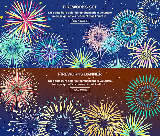 Exploding of fireworks horizontal banners
