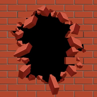 Exploding out hole in red brick wall illustration.