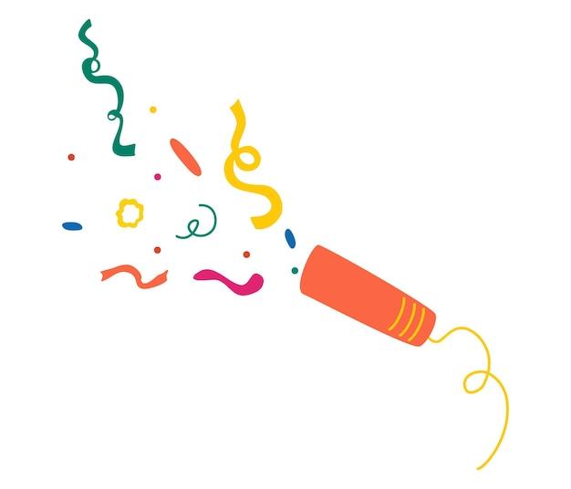 폭발하는 파티 포퍼. 다양한 색의 색종이가 폭죽에서 날아가고 있습니다. 휴일, 생일