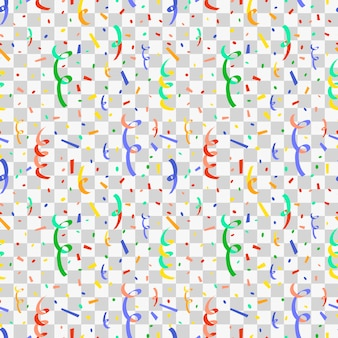 Exploding party popper with colorful confetti, flat seamless pattern on transparent