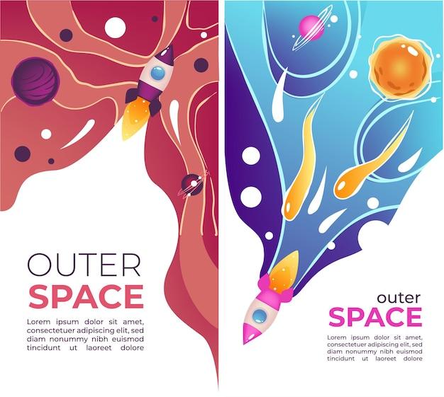 Исследование и открытие космоса, баннеры с образцом текста