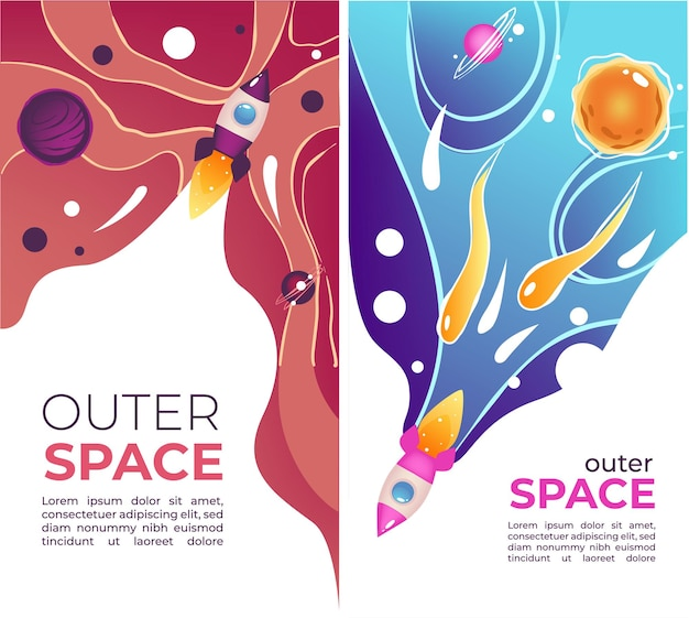 Exploration and discovery of outer space, banners with sample text