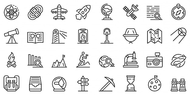 Exploration icons set, outline style