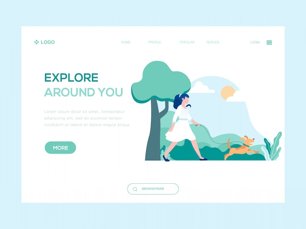 Explore around you web illustration