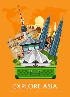 Explore asia banner with famous attractions.