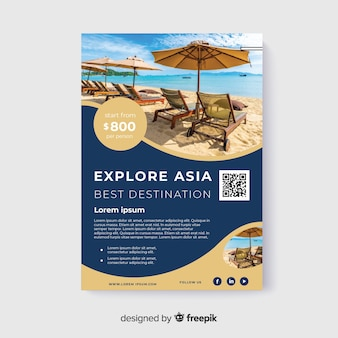 Explore asia travel flyer with photo