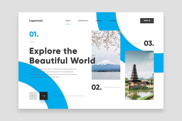 Explore the beautiful world landing page