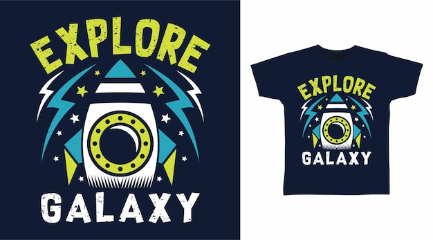 Изучите галактику rocket для дизайна футболки