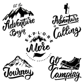 Explore and hiking hand drawn motivation lettering quote.  element for poster, , greeting card.  illustration