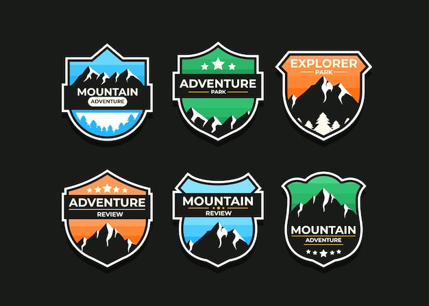 Explore mountain advanture symbol set