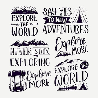Explore the mountains camping lettering