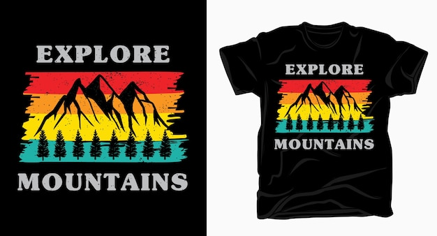 Исследуйте винтажную типографику гор для дизайна футболки