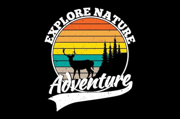 Исследовать природу приключения олень в стиле ретро
