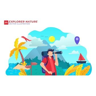 Explore nature adventure flat illustration