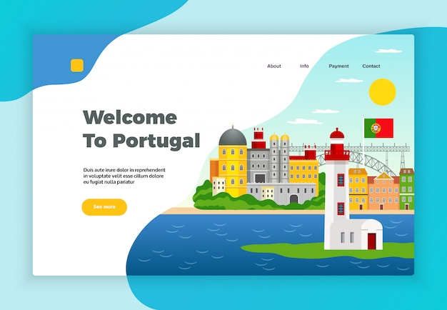 Explore portugal page desidn with payment and contact symbols flat