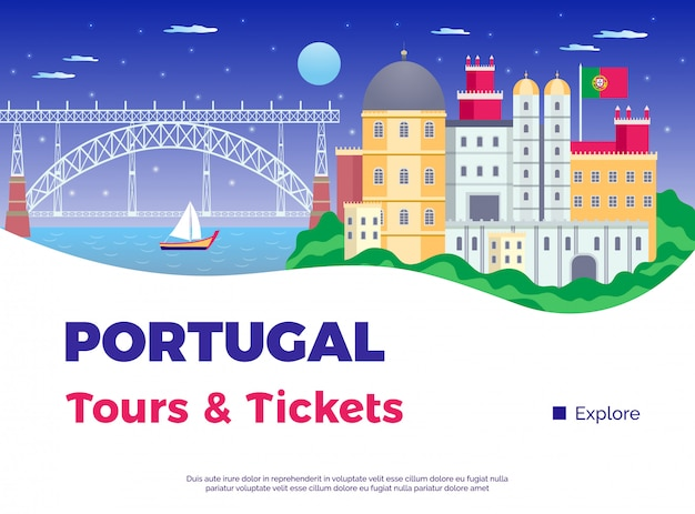 Explore portugal poster with tours and tickets symbols flat vector illustration