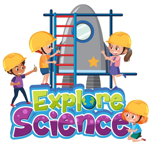 Explore science logo with kids wearing engineer