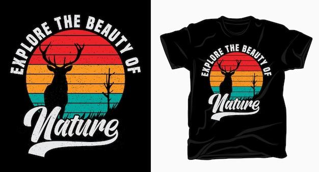 Исследуйте красоту природы винтажный дизайн типографики для футболки