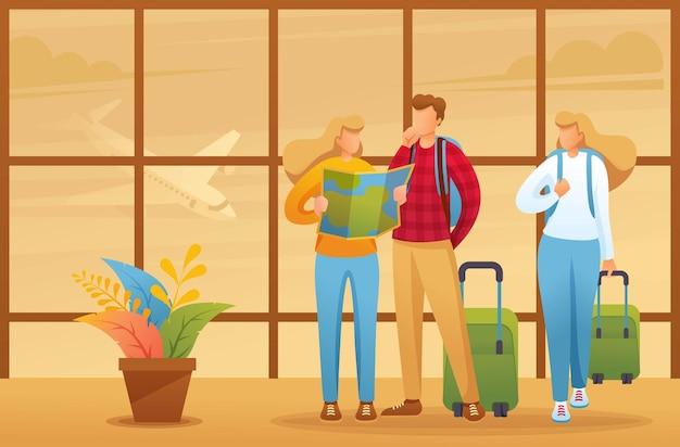휴가의 도시지도를 탐색하고, 관광객은 공항에서지도를 탐색합니다.