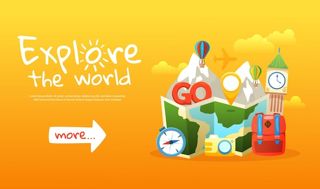여행 요소와 함께 세계 색깔의 가로 배너를 탐험하세요
