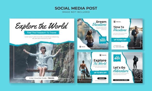 세계 소셜 미디어 instagram 게시물 템플릿 탐색