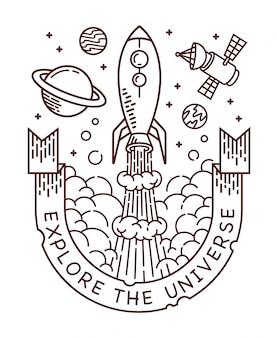 Explore the universe line illustration