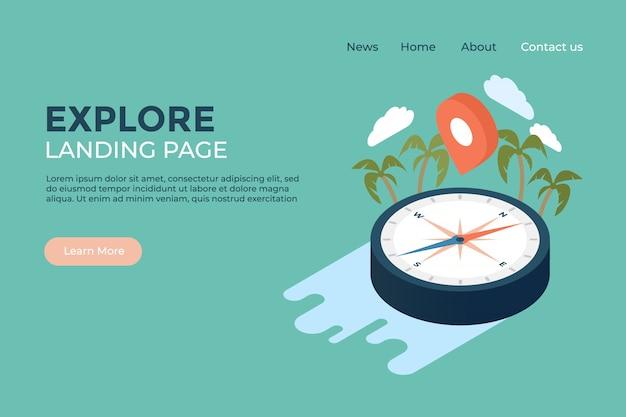Explore world landing page web design template
