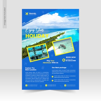 Explore world travel agency flyer template or business flyer