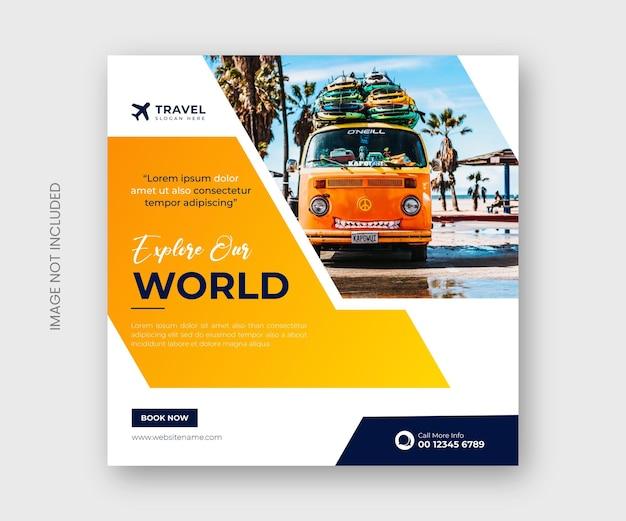 세계 여행사 소셜 미디어 게시물 배너 템플릿 탐색