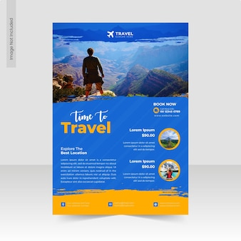 Explore world travel and time to travel agency flyer template or business flyer