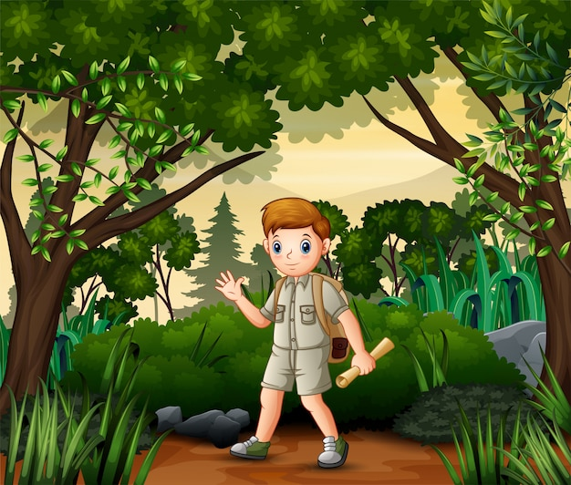 The explorer boy with map and backpack performing outdoor activity