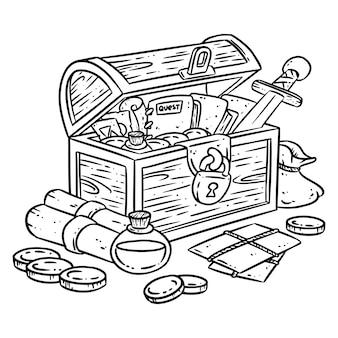 채색을위한 탐색기 가슴 그림. 모험 아이템과 판타지 캐릭터 상자. 보물 만화 스타일. 금화, 칼, 묘약