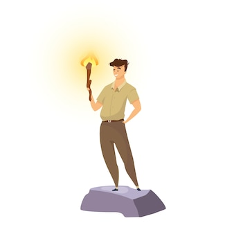 Explorer flat color illustration. male adventurer with torch. man standing with flambeau. venturer smiling. trailblazer in khaki uniform. tourist isolated cartoon character on white background