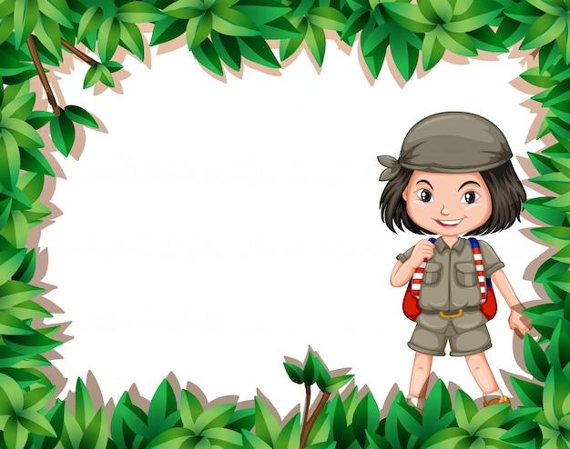 ジャングルの中でエクスプローラーの女の子
