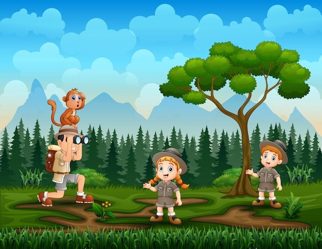 The explorer kids in the nature background