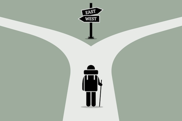Explorer reaching a split road. concept junction of life, decision making, and uncertain future.